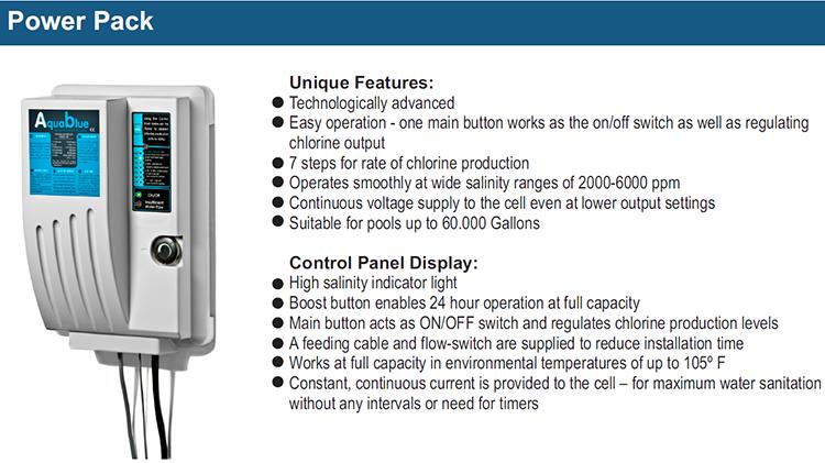 Aqua Blue Chlorine Generator Salt Sanitation System 20 000